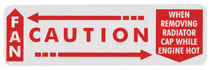 "1962-64 Radiator Decal, ""Caution - Fan"" Grand Prix (Horizontal)"