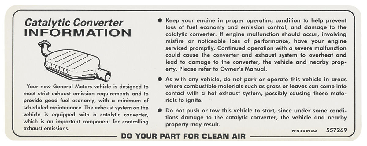 Photo of Catalytic Converter Caution Decal (#557269)