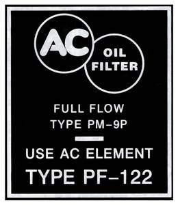 1959-1960 Catalina Oil Filter Decal Bonneville/Catalina (PF122)