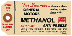 1959-1960 Catalina Cooling System Decal Methanol Anti-Freeze Tag
