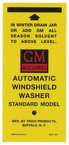 1954-55 Cadillac Windshield Washer Decal - Peel & Stick Bottle Bracket Lable (#6473-50)