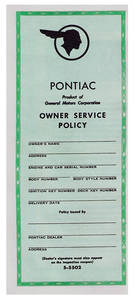 1959 Bonneville Vehicle Service Policy (S-5502)