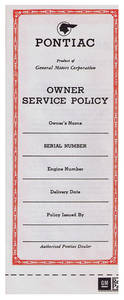 1960-64 Catalina Vehicle Service Policy