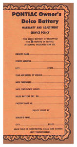 1959-1960 Bonneville Battery Certificate, Delco (#755)
