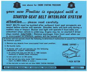 1974-1974 Grand Prix Ignition Instructions Visor Sleeve Grand Prix, Start Instr., # 496015