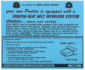 1974 Ignition Instructions Visor Sleeve Grand Prix, Start Instr., # 496015