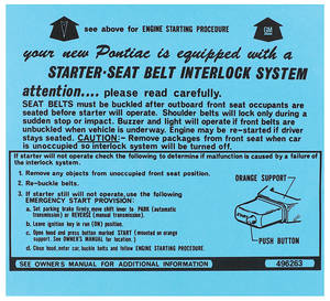 1974-1974 Catalina Ignition Instructions Visor Sleeve Bonneville/Catalina, Start Instr., # 496263