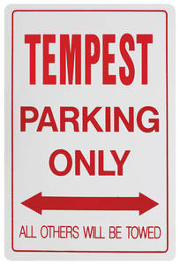 1961-73 Parking Only Sign, Aluminum Tempest, by RESTOPARTS
