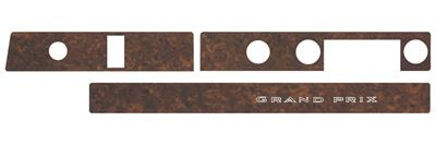 1969-1970 Grand Prix Dash Inserts, Vinyl Woodgrain Grand Prix (Gunstock Walnut Grain) (3-Piece) w/o AC (3-Piece)