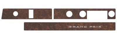 1969-70 Dash Inserts, Vinyl Woodgrain Grand Prix (Gunstock Walnut Grain) (3-Piece) w/o AC (3-Piece)