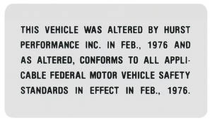 1976-77 Hurst Modification Decal (Grand Prix)