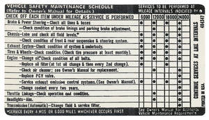 1971 Vehicle Safety Maintenance Decal Grand Prix