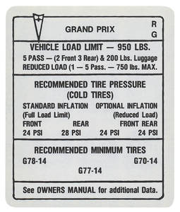 "1969 Tire Pressure Decal ""RG"", Grand Prix"