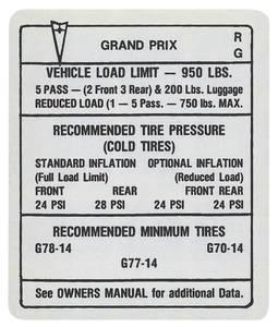 """1969 Tire Pressure Decal """"RG"""", Grand Prix"""