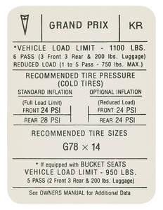 """1971 Tire Pressure Decal """"KR"""", Grand Prix"""