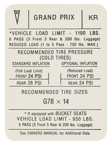 "1971 Tire Pressure Decal ""KR"", Grand Prix"