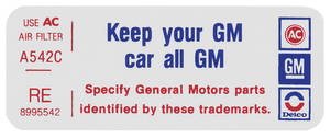 "1977 Bonneville Air Cleaner Decal, ""Keep Your GM Car All GM"" 2-V (RE, #8995542)"