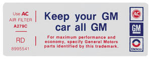 "1977 Bonneville Air Cleaner Decal, ""Keep Your GM Car All GM"" 4-V (RD, #8995541)"