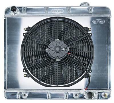"""1961-66 Bonneville Radiator & Fan, Super Duty Aluminum 17-1/2"""" X 22-3/4"""" AT, Drvr Inlet, Single Fan"""