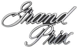 """1971-1972 Grand Prix Header Panel Emblem, 1971-72 """"Grand Prix"""" (Script)"""