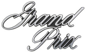 """Header Panel Emblem, 1971-72 """"Grand Prix"""" (Script)"""