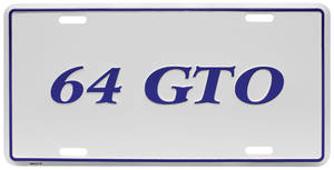 "1964-1964 GTO License Plate, ""GTO"" Embossed, by RESTOPARTS"