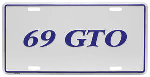 "1969 License Plate, ""GTO"" Embossed, by RESTOPARTS"