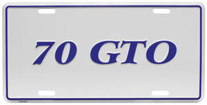 "1970 License Plate, ""GTO"" Embossed, by RESTOPARTS"