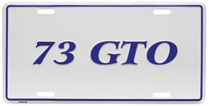"""1973 License Plate, """"GTO"""" Embossed"""