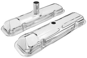 1963-64 LeMans Valve Covers, Chrome (Factory Duplicate) Early - Tube for Oil Fill