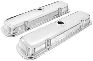 1964 Bonneville Valve Covers, Chrome (Reproduction) Late, w/Twist on Cap for Oil Fill