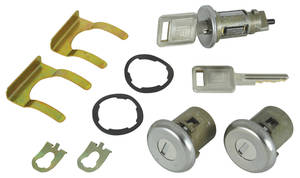 1968 Cadillac Lock Set: Ignition & Door - Short Cylinders (Square Head Keys)
