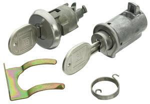 1965 Skylark Lock Set: Glove Box & Trunk (Matched Keys) Round w/Case