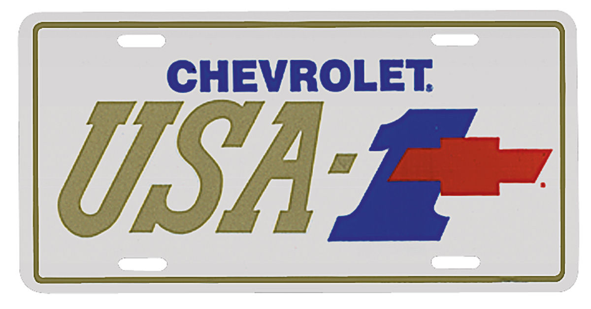"Photo of License Plate, ""Chevrolet USA-1"" with Bowtie"