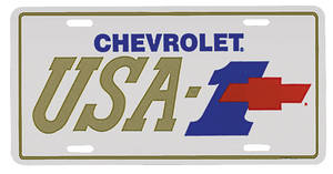 "1978-88 Malibu License Plate, ""Chevrolet USA-1"" with Bowtie"