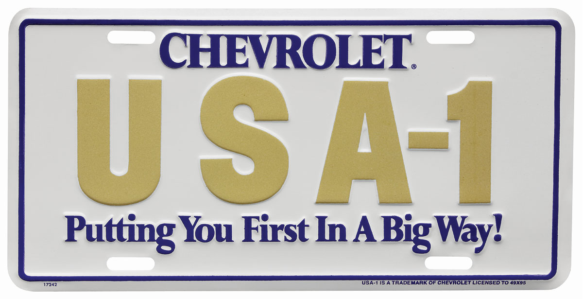 "Photo of License Plate, ""Chevrolet USA-1 Putting You First In A Big Way"""