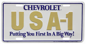 "1978-1983 Malibu License Plate, ""Chevrolet USA-1 Putting You First In A Big Way"""