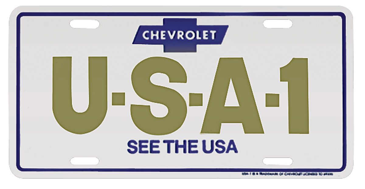 """Photo of License Plate, """"Chevrolet USA-1 See The USA"""""""