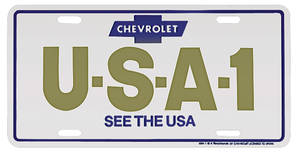 "1978-88 Monte Carlo License Plate, ""Chevrolet USA-1 See The USA"""
