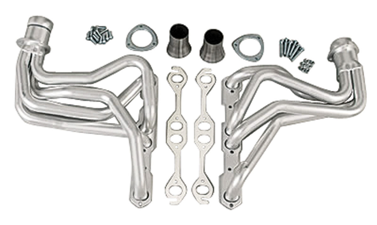 "Photo of Headers, High-Performance 283-400/Power Steering, Automatic, Manual (Floor Only), 1-1/2"" Tubes, 3"" Collector black (1, 4, 6, 121)"