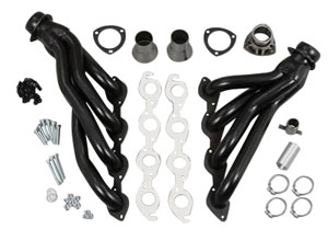 "1968-1977 Chevelle Headers, High-Performance 396-502/Ac, Power Steering, Automatic/Manual (Floor Only), 1-3/4"" Tubes, 3"" Collector Black (1, 4, 6, 15, 20, 208)"