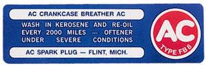 Chevelle Oil Filler Cap Decal, 1964-67