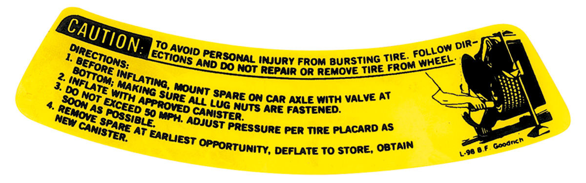 Photo of Jacking Instruction Decal Chevelle (space saver) (L-98)