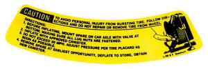 1973-77 Jacking Instruction Decal Chevelle (Space Saver) (L-98)