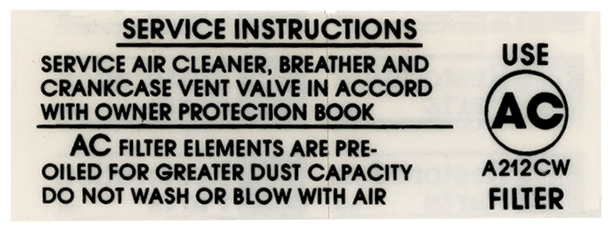 Photo of Air Cleaner Service Decal 396, 375 HP; A212CW