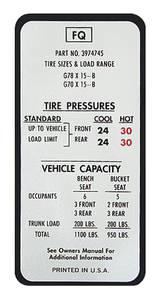 1970-1970 Monte Carlo Tire Pressure Decal (FQ, #3974745)