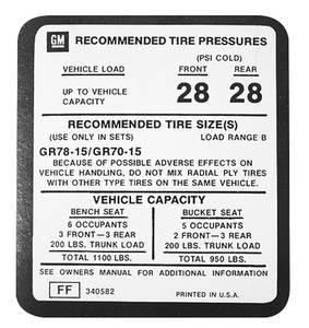 1975-1977 Monte Carlo Tire Pressure Decal (FF, #340582)