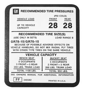 1975-77 Monte Carlo Tire Pressure Decal (FF, #340582)