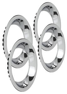 "1964-1973 LeMans Wheel Trim Rings, Reproduction Rally (Stainless) Round Lip 15"" X 8"" (2-7/8"" Deep)"