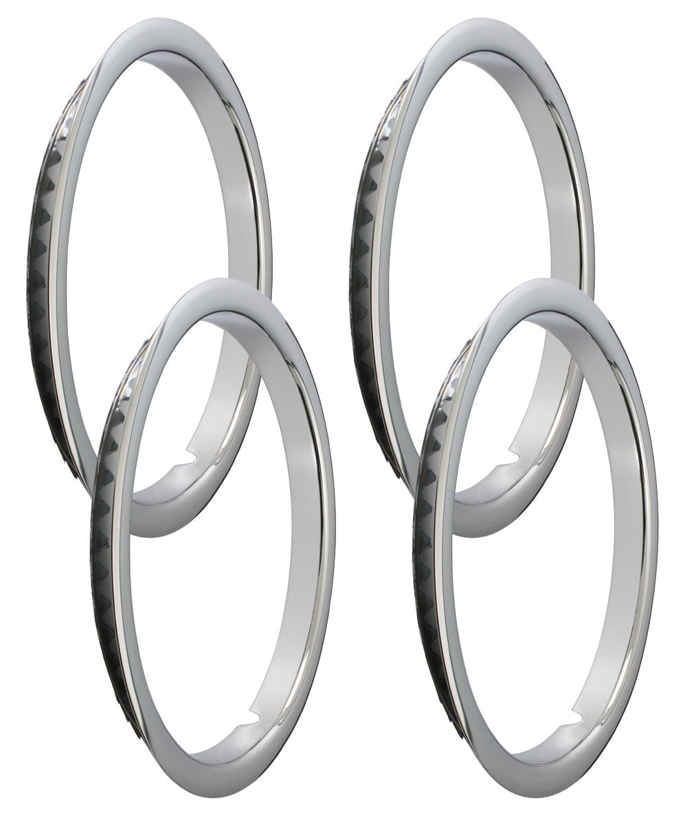 """Photo of Trim Rings, Stainless Steel Rally Wheel Oem Reproduction Lip 15"""" SS/Rally (1-1/4"""" Deep)"""